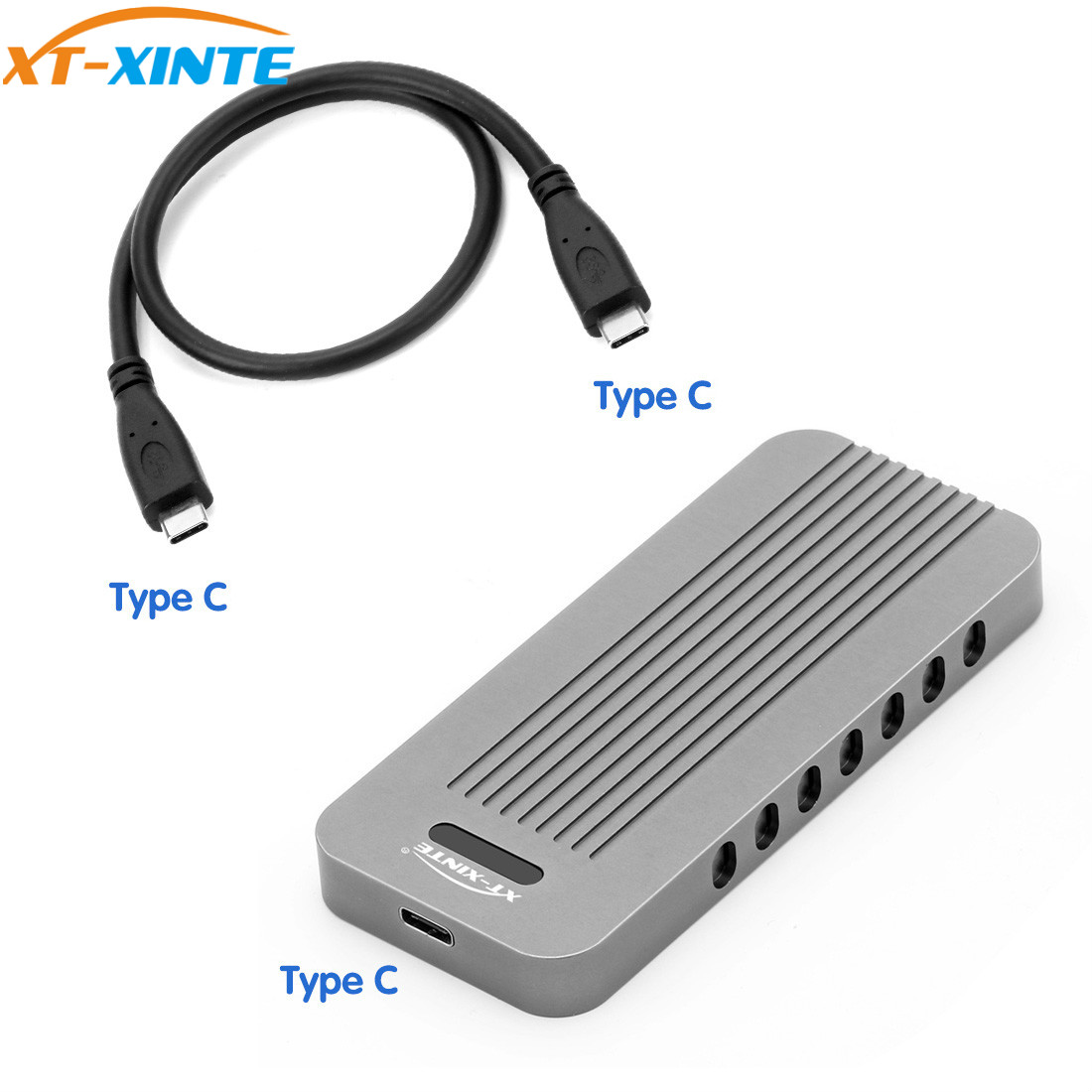 Aluminio externo M.2 a 10 Gbps USB 3,1 tipo C NVMe PCIe 3,0 SSD caja M clave NGFF USB3.1 caja HDD C a C Cable adaptador