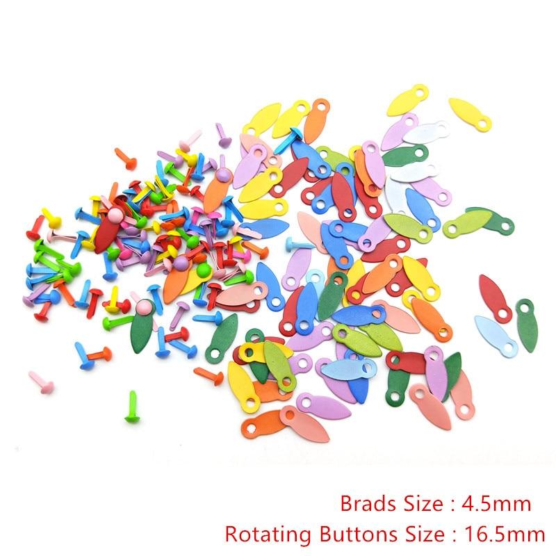 50 шт Brads и 50 шт вращающихся кнопок Brads DIY ремесленные принадлежности фоторамка замки скрапбукинг украшения застежка Brads Новые - Цвет: 4.5mm as photo