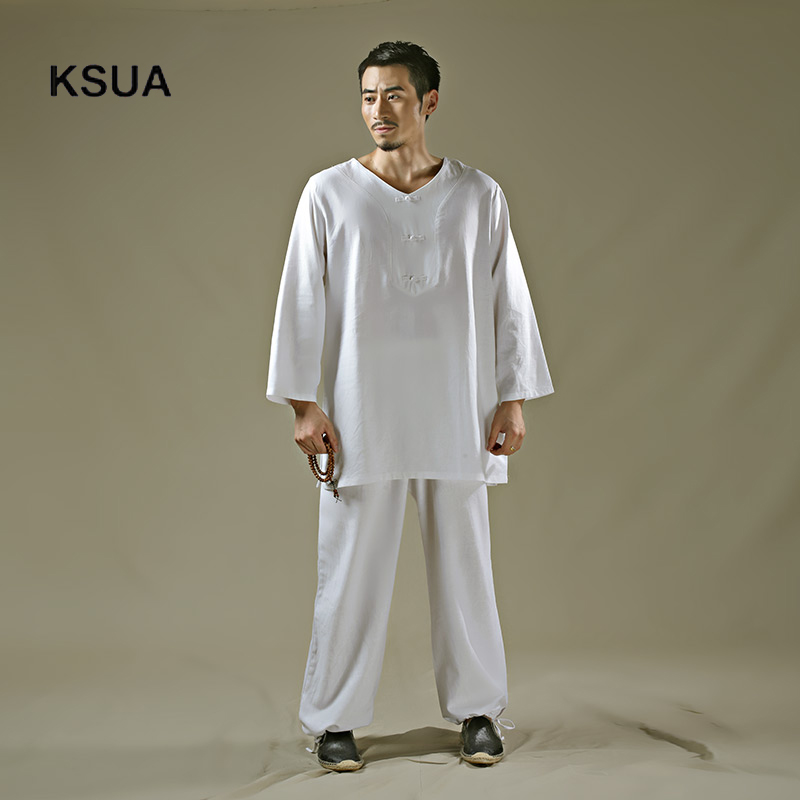 Здесь продается  2017 Linen Yoga Shirt Pants Zen Meditation Clothing Man Sportswear Set Large Size Gym Yoga Suit Shirt Pants Tracksuit Yoga Set  Спорт и развлечения