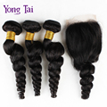 Yongtai Perucian свободная волна с закрытием ен волосы компания связки с закрытием ю . ен тай для волос 3 связки с закрытием