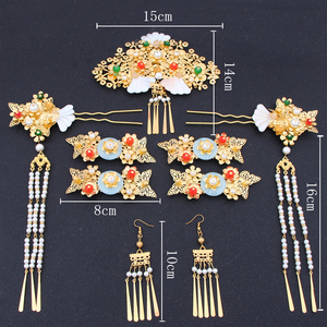 Image 4 - Chinese show and Hanfu bridal tiara suit tassels Feng Guanxia hair accessories wedding red costume show