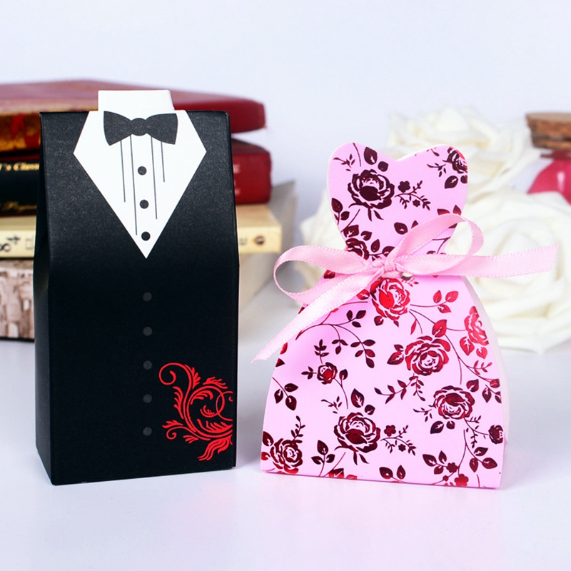 50pcs bride and groom tuxedo dress gown wedding favor for Wedding dress shipping box