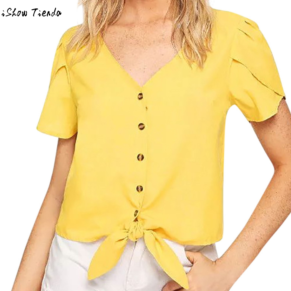 Blouses & Shirts Ummer V Neck White Bow Tied Women Tops Cap Sleeve Office Lady Frilled Neck Button Back Weekend Casual Bandage Blouse#hjc A Wide Selection Of Colours And Designs