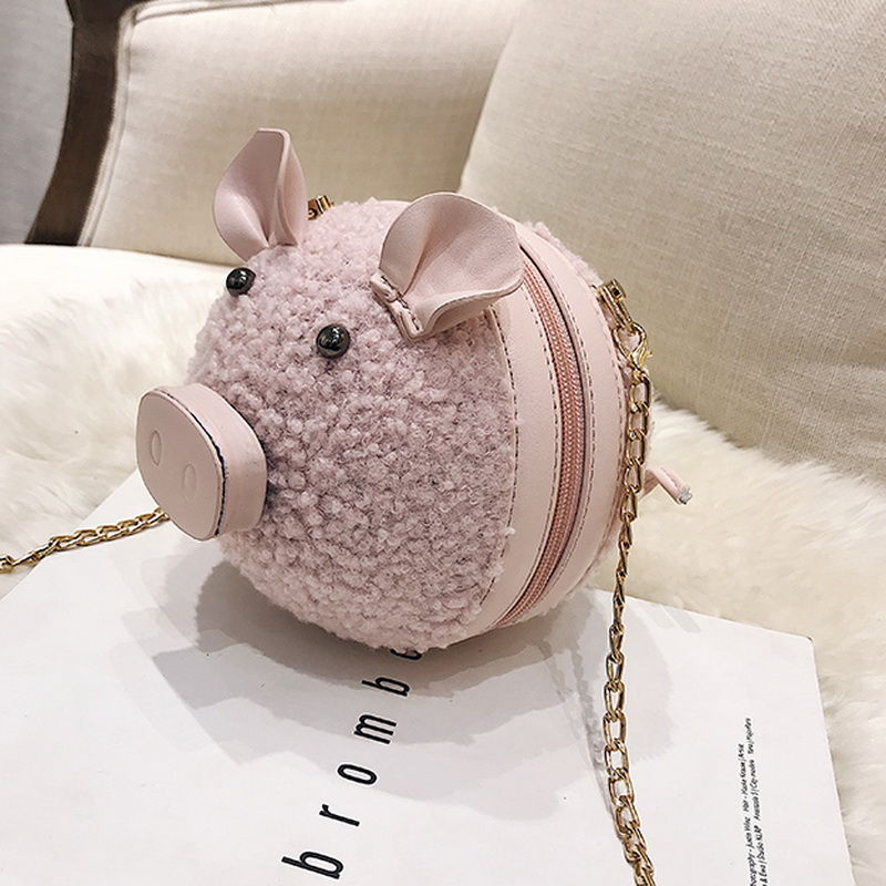 Winter Cute Handbag Women Wool Shoulder Bag Kawaii Pig Shape Messenger Bag  Girls Crossbody Bag with Chains Mini Coin Purse Bag-in Shoulder Bags from  Luggage ... 036378eb3081