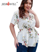SEBOWEL 2019 Summer Plus Size Floral Print Blouse and Tops with Zipper for Woman Sexy V Neck Ruched Big Blouses Shirts