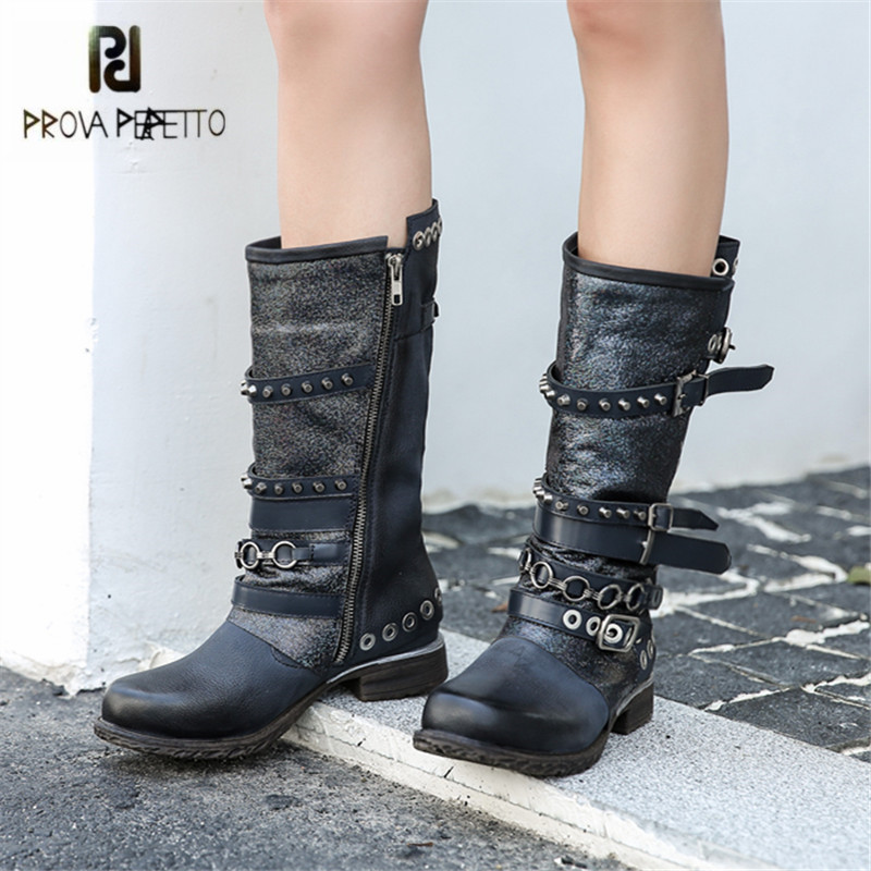 Prova Perfetto Punk Style Women High Boots Rivets Straps Autumn Winter Flat Boots Platform Rubber Shoes Woman Botas Militares prova perfetto yellow women mid calf boots fashion rivets studded riding boots lace up flat shoes woman platform botas militares