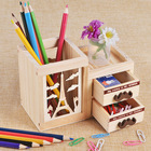 Fashion creative hollow out with Drawer Wooden cute cat and tower pen holder Desktop wooden storage box office stationery