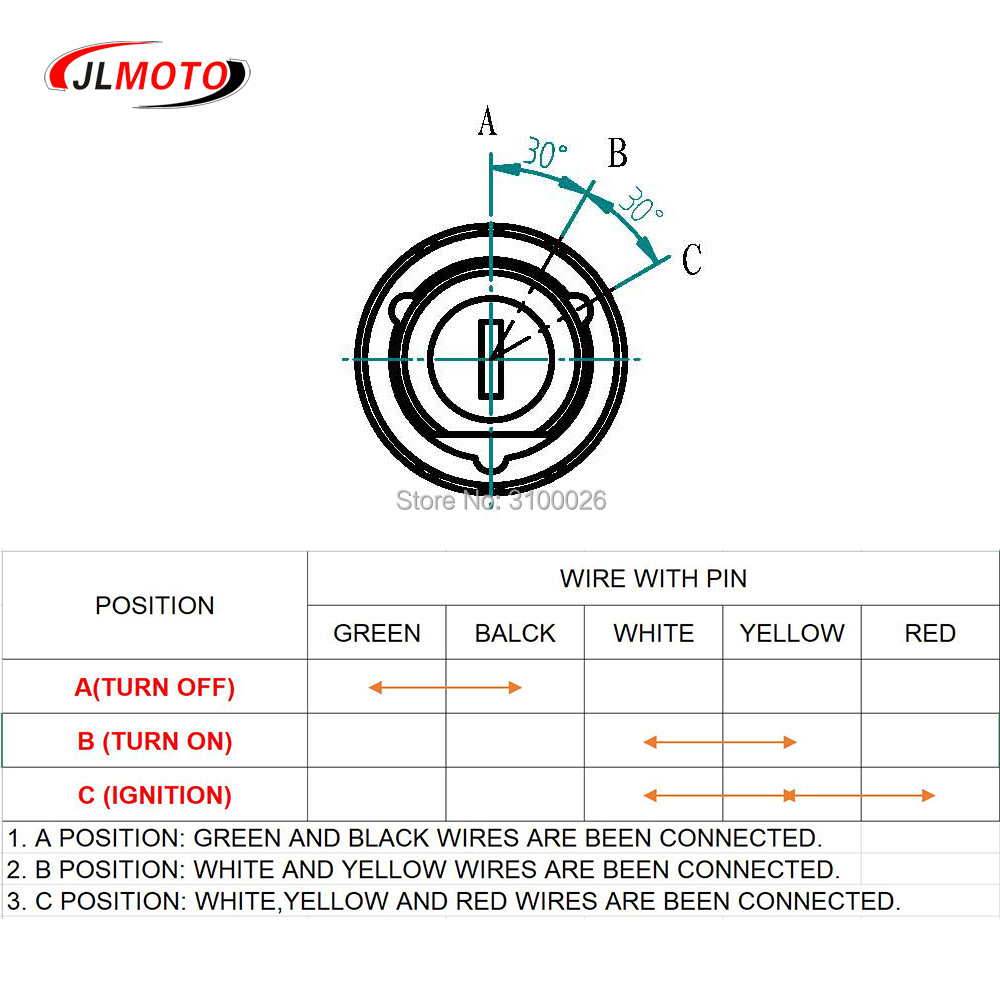 5 Pin Key Ignition Switch Fit For 50cc 110cc 150cc 200cc 250cc 300cc  Prong Ignition Switch Wiring Diagram on