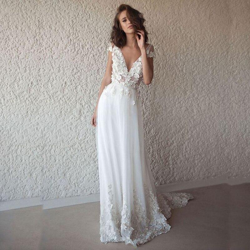 Sexy Wedding Dress Boho Long Backless White Beach 2019 Wedding Dress Appliques Lace V Neck Princess Bride Dress Free Shipping