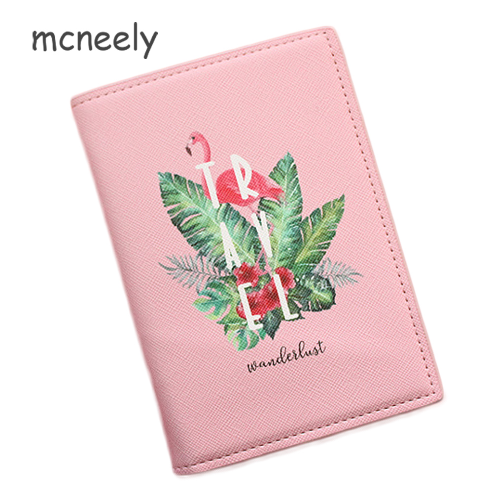 High Quality Pink Flamingo Girls Fashion Passport Cover Travel Women Passport Holder Leather Card ID Holders Passport Package