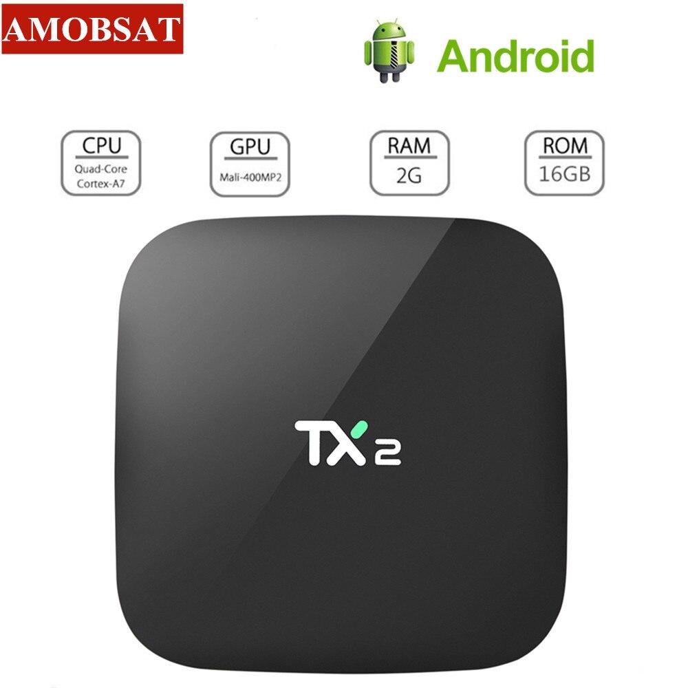 AMOBSAT TX2 2GB 16GB Rockchip RK3229 Android 7.1 TV BOX Bluetooth 2.1 4K 60tps 2.4GHz WiFi lecteur multimédia TV Smart tv Box PK Z28