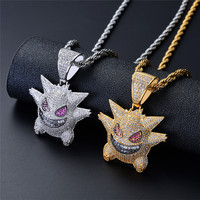 Mens Necklaces Halloween Mask Pendant Necklace With Chain New Arrival Cubic Zircon Pendant Hip Hop Rock Jewelry