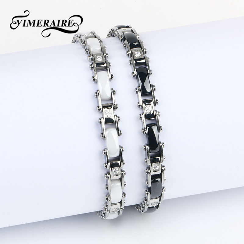 Elegant Classic Black White Ceramic Bracelet For Women Crystal Silver Bracelets For Men Women Anniversary Jewelry Gifts 2018 New