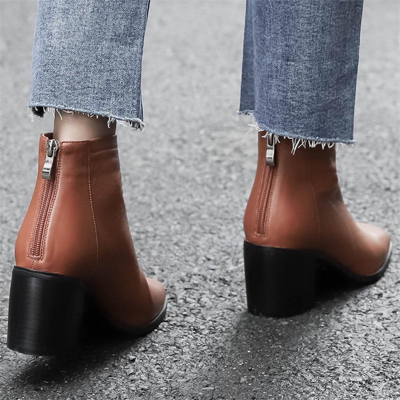 Cuir 1 Dames En Fedonas Basiques Bottes Nouvelle Hauts Court Pompes Zipper Carré Femmes Martin Noir Bureau Femme Chaussures Talons Bout Véritable Y7RYqwg