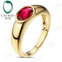 Caimao תכשיטי זהב צהוב 18ct אודם דם אדום קלאסי ייחודי טבעת אירוסין טבעת נישואים