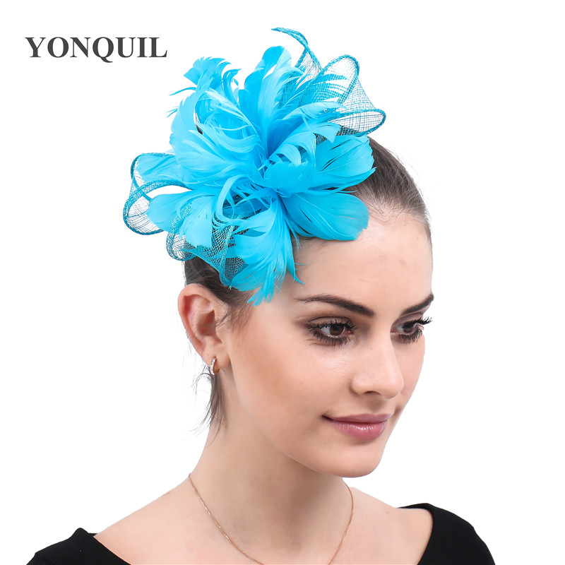 Turquoise Blue Yellow Feather Flower Sinamay Hair Bands Bridal Hats Wedding Party Floral Hair Fascinator Hat Headband For Women