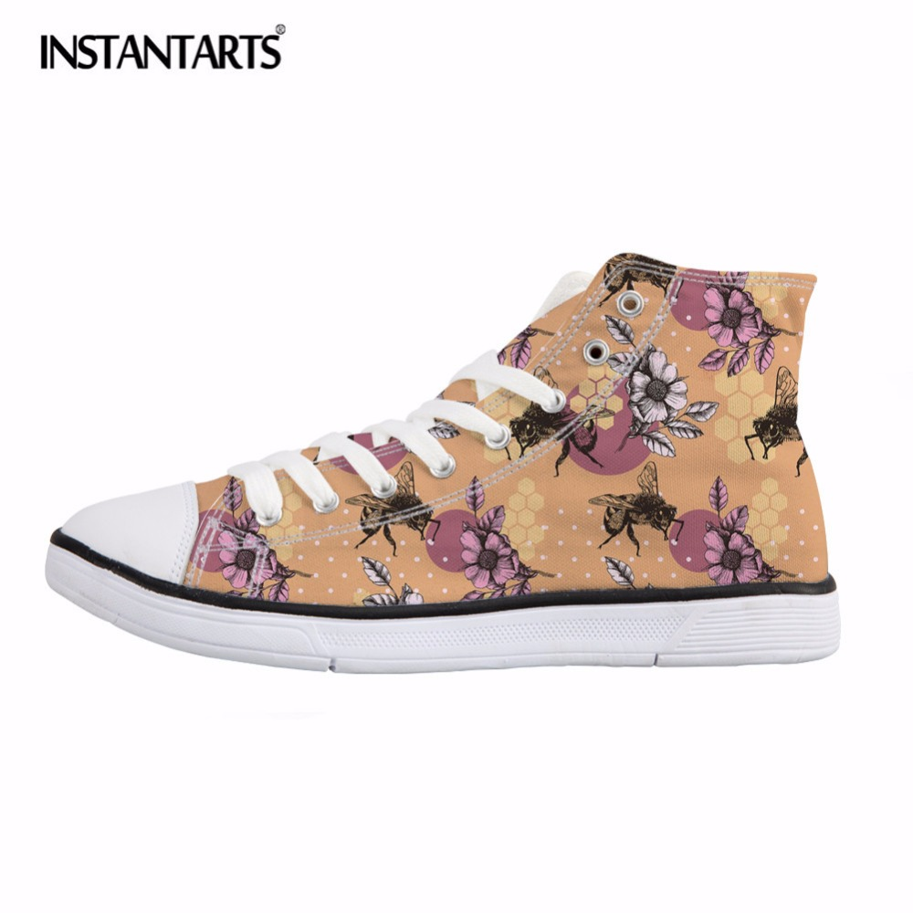 INSTANTARTS Bee Mine Design Classic Vulcanize Shoes Women Fashion Animal Print High Top Canvas Shoes Lace Up Sneakers Flat Shoes