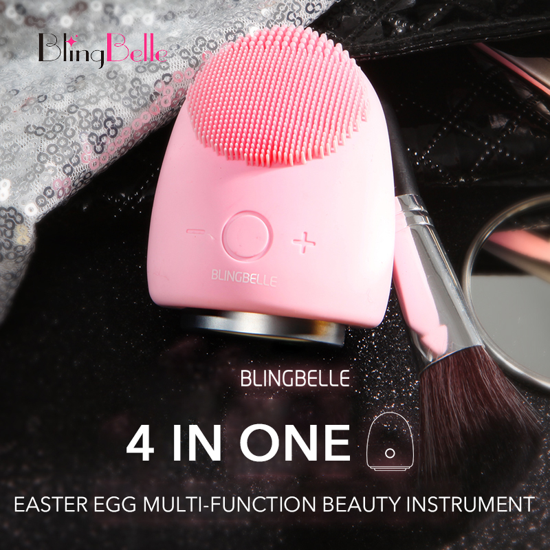 BlingBelle Easter Egg Soft Silicone Facial Cleansing Brush 9 Gear Skin Scrubber Light Therapy Pimple Remover Tool Beauty Machine