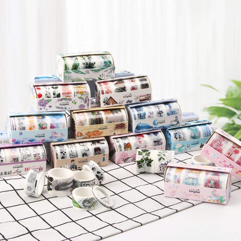 Zephyr Cherry Blossoms Series Washi Paper Tape Set Beautiful Antiquity Scrapbook Decoration Stickers