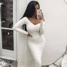 NewAsia Garden Ribbed Winter White Dress Party Bodycon Women Elegant Long Midi Skinny Sexy Dresses Club Wear Vestido