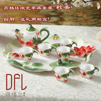 Pure hand color hand painted ceramic kung fu tea set porcelain tea tray lid bowl of tea cups 1teapot + 6 cups + 1