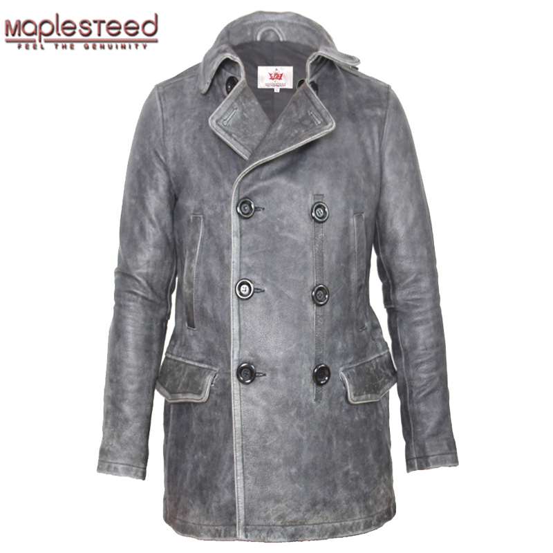 MAPLESTEED Brand Double Breasted Leather Coat Men Turn Down Collar Vintage Black Slim Men's Long Coat Winter Leather Trench M137