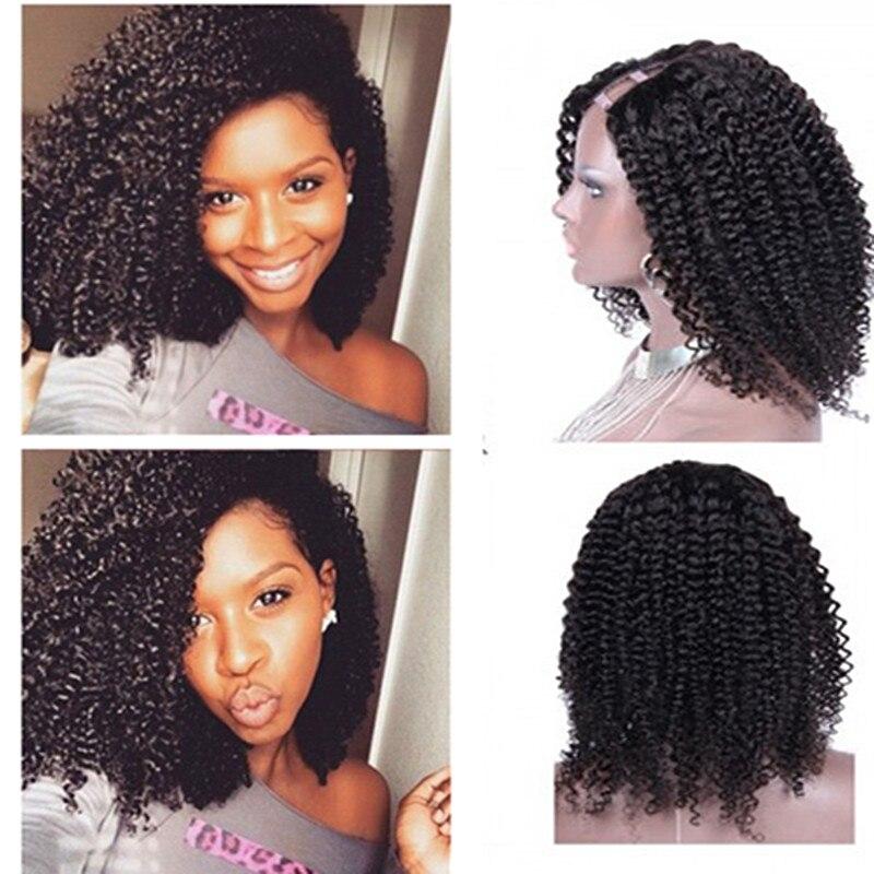 Full Shine U Shaped font b Curly b font Lace Wig font b Brazilian b font