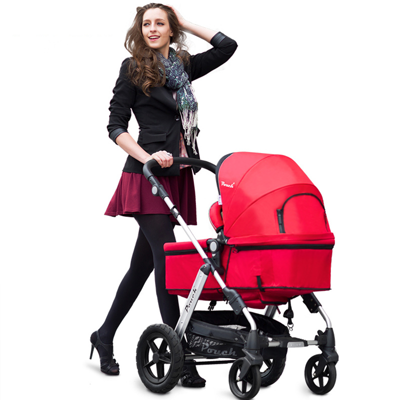 Pouch baby strollers EU standard baby pram 2 in 1 0-36 months baby strollers carriage many colors send free gifts Free shipping original hot mum baby strollers 2 in 1 bb car folding light baby carriage six free gifts send rain cover