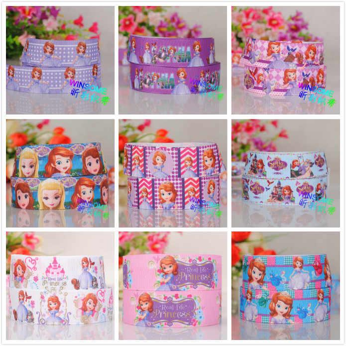 """50% off 1 """"i 7/8"""" piękny cartoon Sofia księżniczka cartoon drukowane ryps wstążka 5/10/20 m/druk losowo dostawy"""