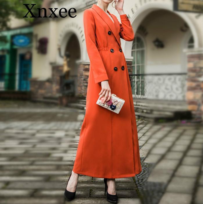 Xnxee Quality Women Autumn Maxi Long   trench   coat 2019 Lady Double-breasted Orange Elegant Outerwear Plus size M- XXXL