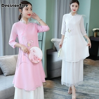 2019 new chinese style dress vietnam aodai chinese traditional dress lace cheongsam dress robe chinoise short