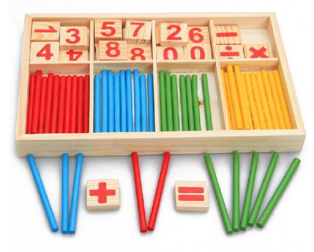 Giocattoli del bambino di Conteggio Bastoni Educazione Giocattoli di Legno da Costruzione Intelligenza Blocchi Montessori Matematica Scatola di Legno Regalo Chil
