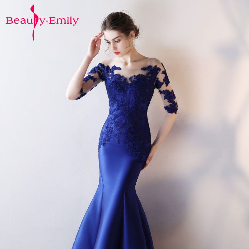 Beautiful Lace Evening Dresses Long royal blue Mermaid Prom gown ...