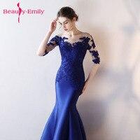 Hermoso encaje largo azul real Vestido de fiesta Vestido de Festa piso de longitud partido Vestido de noche sirena vestidos de baile 2018