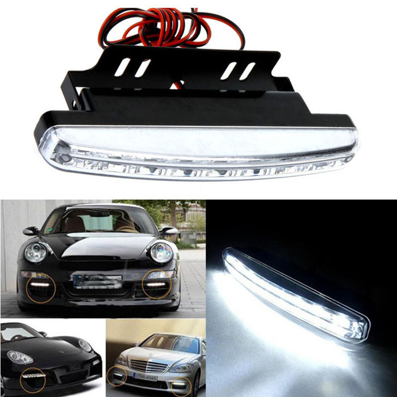 Car Styling Automobiles 8LED Daytime Running Light Cars DRL Tågen kører dagslys LED-lamper til automatiske navigationslamper