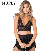 Women Lady Lace Sexy Seamless Corsets Bralette Bustier Cross Bandage Crop Tank Top Muply Floral Shee