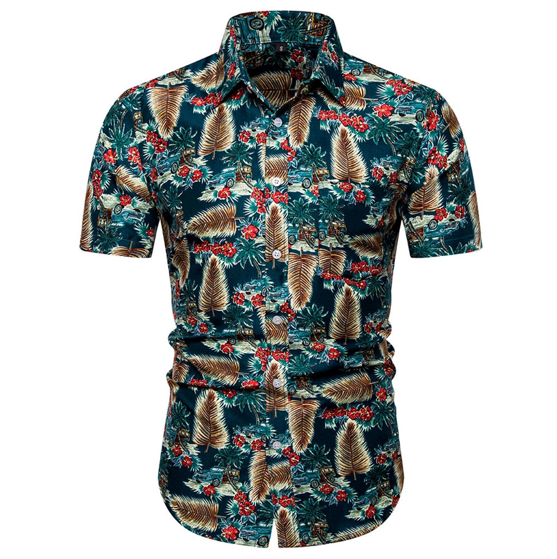 Shirt Men Short Sleeve Beach Printed Hawaii Shirts Turn-down Collar Quick Dry Shirt For Men Camisa Social Dropshipping C