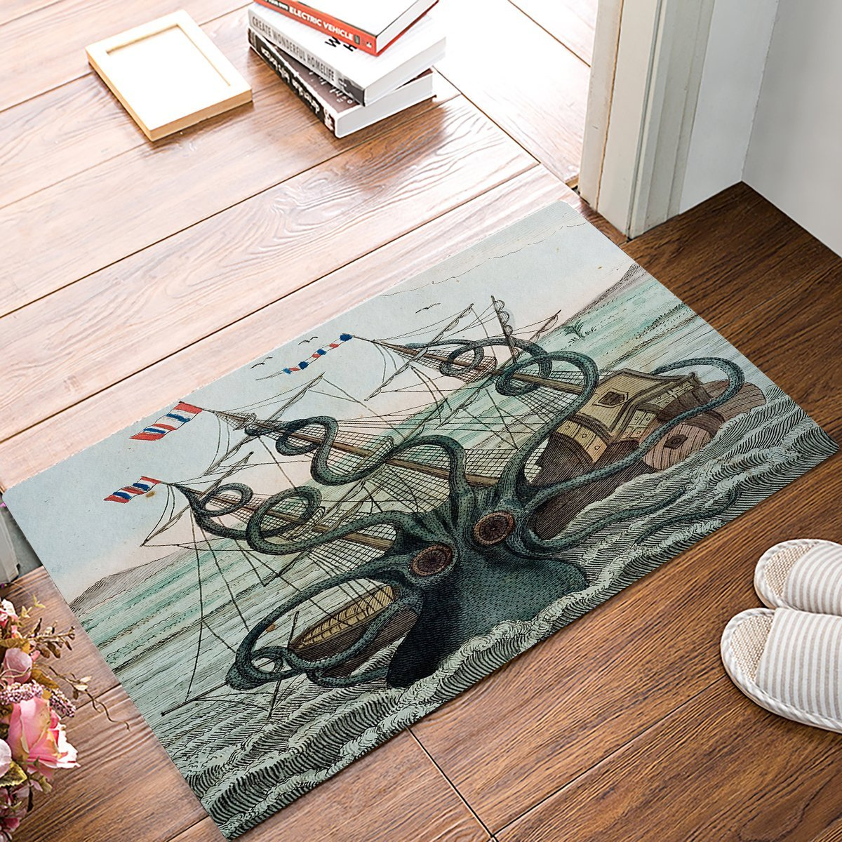 Sail Boat Waves And Octopus Old Look Marine Life Door Mats Kitchen Floor Bath Entrance Rug Mat Absorbent Indoor Bathroom Rubber
