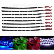 8pcs/set white/Red/Blue/Green Auto 12V 15 SMD LED Light Bar Car LED Flexible Waterproof Strip Light Motorcycle Car Decor Lamps