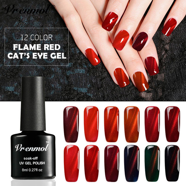 Vrenmol 3D Glitter Red Flame Magnetic Nail Varnish UV Fire Cat Eye ...