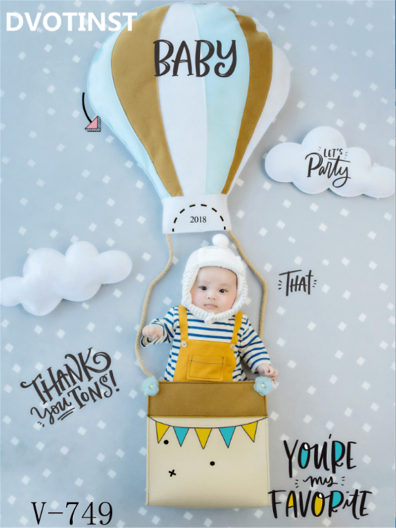Dvotinst Baby Photography Props Balloon Theme Background Costume Clothes Set Fotografia Accessory Studio Shooting Photo Props 600cm 300cm mini baby child photography balloon flower tree background one hundred days baby photos lk 3979