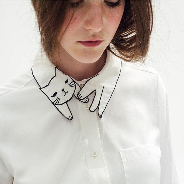 Прибытия женские вышиванки топы мори девушка блузки с милой кошка , белый дешево рубашки с длинным рукавом с карманными топы с длинным рукавом 2015