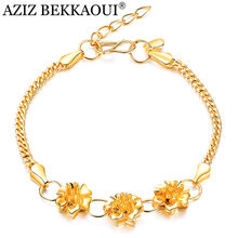 AZIZ BEKKAOUI Elegant Flowers Chain Gold Color Bracelet For Women Ladies Wedding Anniversary Best Selling Jewelry Gift(China)