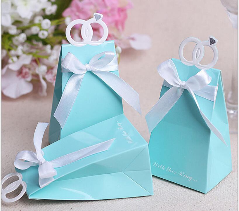 Free Shipping 100 Pcs Tiffany Blue Diamond Ring Style Love Bird