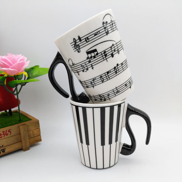 Music Cup Mug Staff Notes Piano Keyboard Ceramic Cup Porcelain Mug Coffee Caneca with Cover Creative