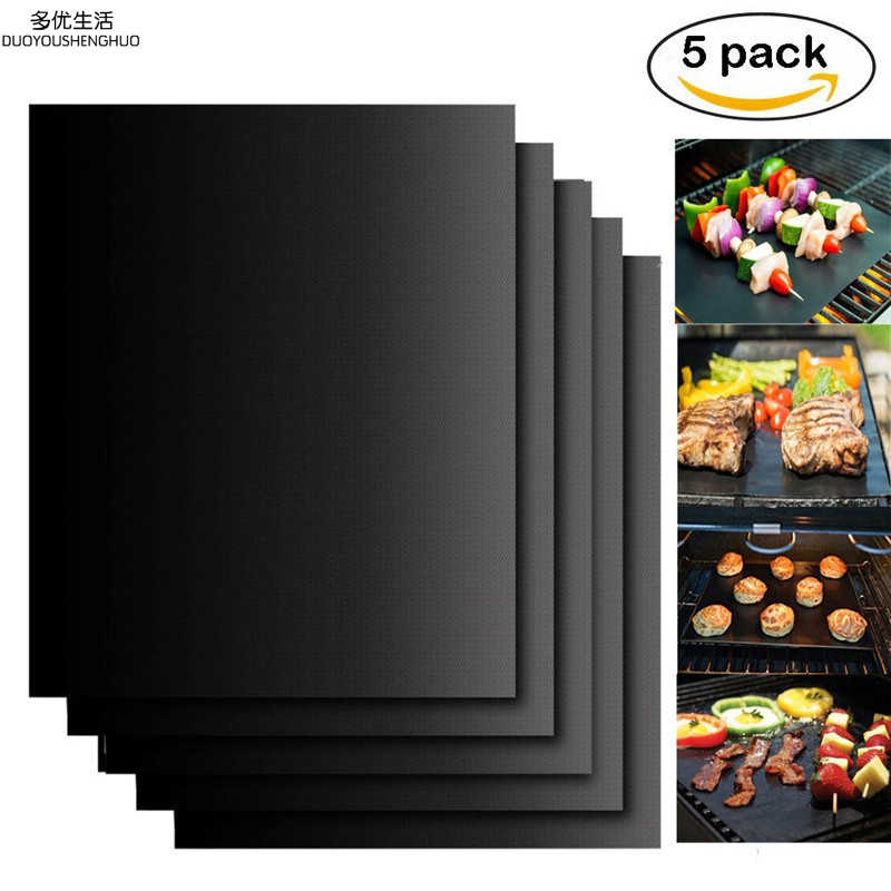 5pc/lot Reusable Non-stick BBQ Grill Mat 0.2mm Thick PTFE Barbecue Grill Mat Cooking Baking Microwave Oven Grill Sheet BBQ Liner
