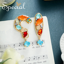 Special European and American 925 Silver Needle Girls Heart asymmetrical question Point earrings female ear Nail unknow
