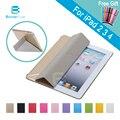 Projeto estande pu case para ipad 4 3 2 volta transparente ultra magro Smart Cover Smartcover para iPad4 iPad3 iPad2 + Stylus Pen como Presente