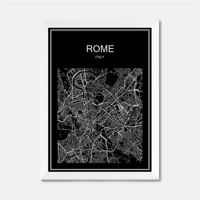 Rome Italy City World Map Poster Abstract Vintage Paper Print
