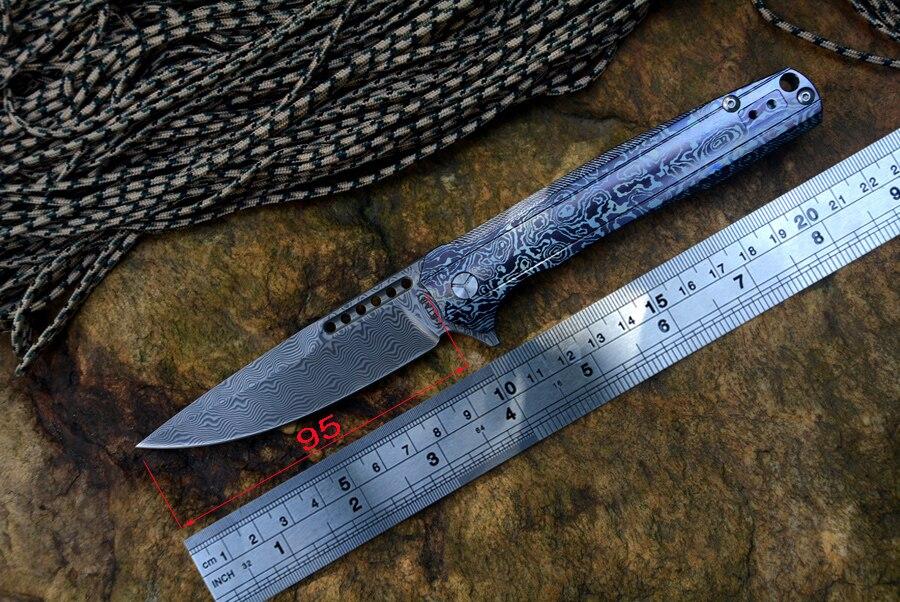 Y-START collezione in edizione limitata coltello LK5015D reale damasco lama texture titanium maniglia esterna campo piegante della tasca coltelli